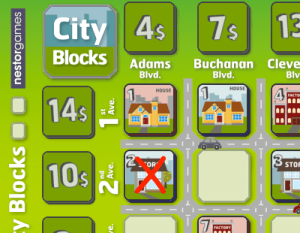 Example: Blue pays a 3$ token and removes a blue '2 store' tile from the board.
